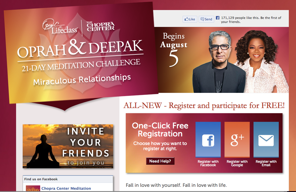 Oprah & Chopra Free Meditation Program Begins August 5th