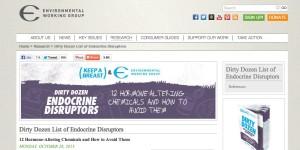 Screen Shot of EWG's Dirty Dozen of Endocrine Disruptors Guide on EWG Website