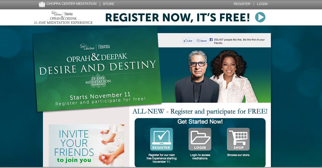Free Meditation Program by Chopra & Oprah: Desire & Destiny