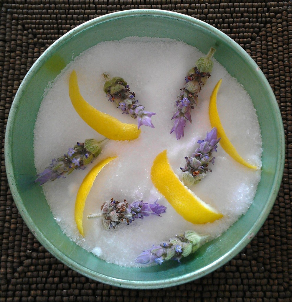 Remineralizing spa bath made with Dead Sea salt, essential oils, lavender buds, and lime peels. Photo © Karen Peltier