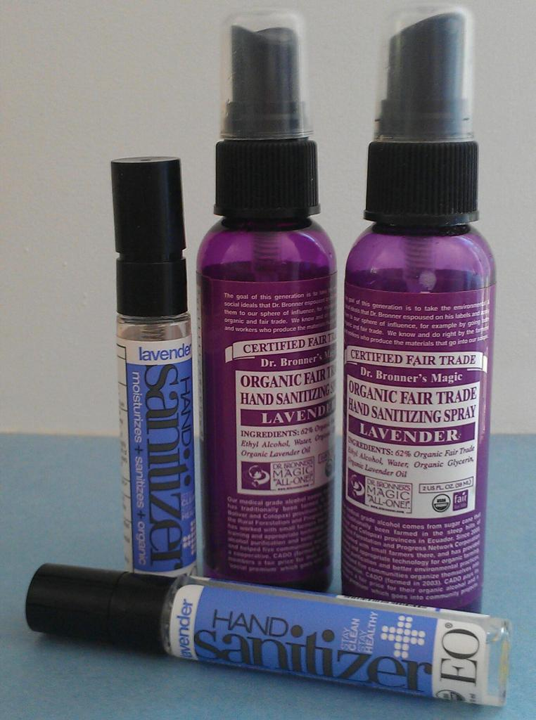 Recycle Dr. Bronner's and EO Lavender Hand Sanitizer spray bottles to use for your own DIY natural hand sanitizers.