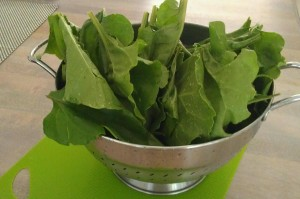 Save time by washing the beet leaves and letting them air dry in a colander a few hours ahead of time.