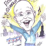 Caricature of Tommy Hensel as a foodie
