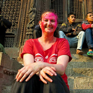 Nicole at the Holi festival in Nepal - Nicole has traveled to over 40 countries