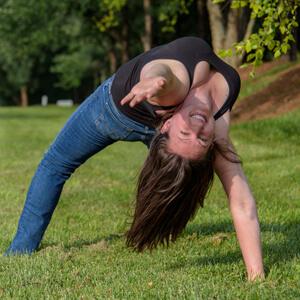 "Nicole doing ""wildthing"" yoga pose"