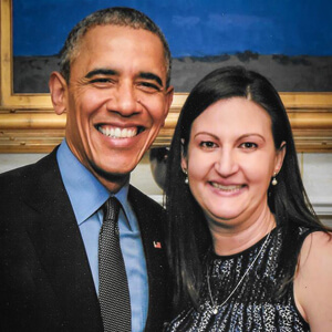 Nicole with President Obama - Nicole was an Obama Victory Trustee and a member of the DNC National Finance Committee