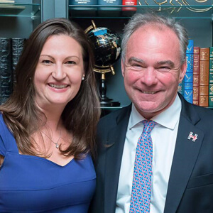 Nicole Leffer with Senator Tim Kaine during the 2016 election - Nicole was on Hillary Clinton's National Finance Committee