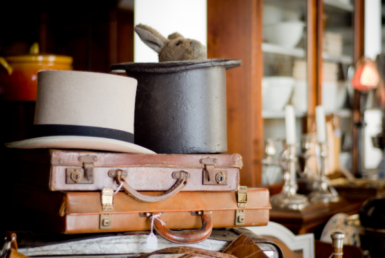 Antique shop with hats, suitcases, and other gems!