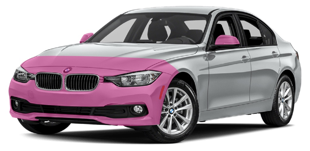 paint protection film coverage areas shaded in pink