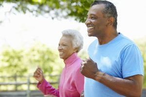senior adult running walk pain