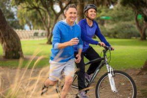 run, bike, couple, elderly