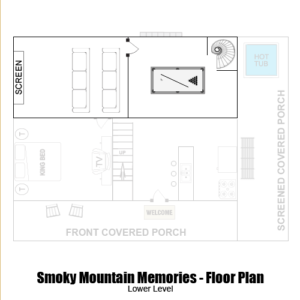 Smoky Mountain Memories 2 Bedroom Log Cabin lower level floor plan in Gatlinburg - Pigeon Forge Tennessee