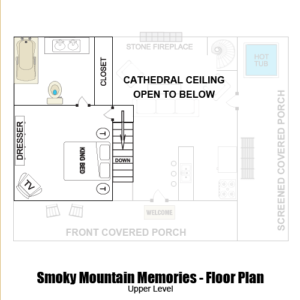 Smoky Mountain Memories 2 Bedroom Log Cabin upper level floor plan in Gatlinburg - Pigeon Forge Tennessee
