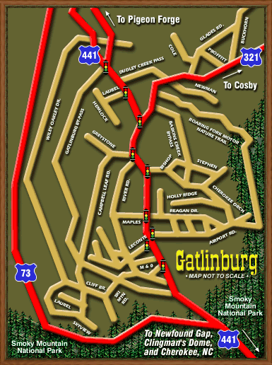 Gatlinburg Map by Russ Salyer