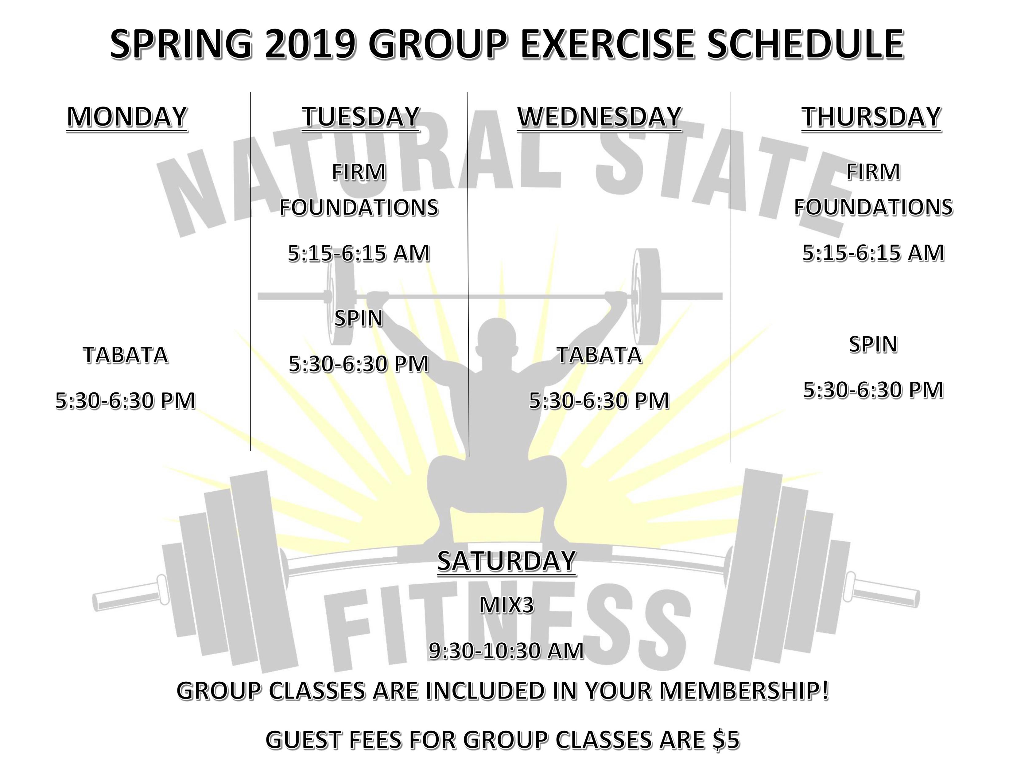 Spring 2019 Group Schedule