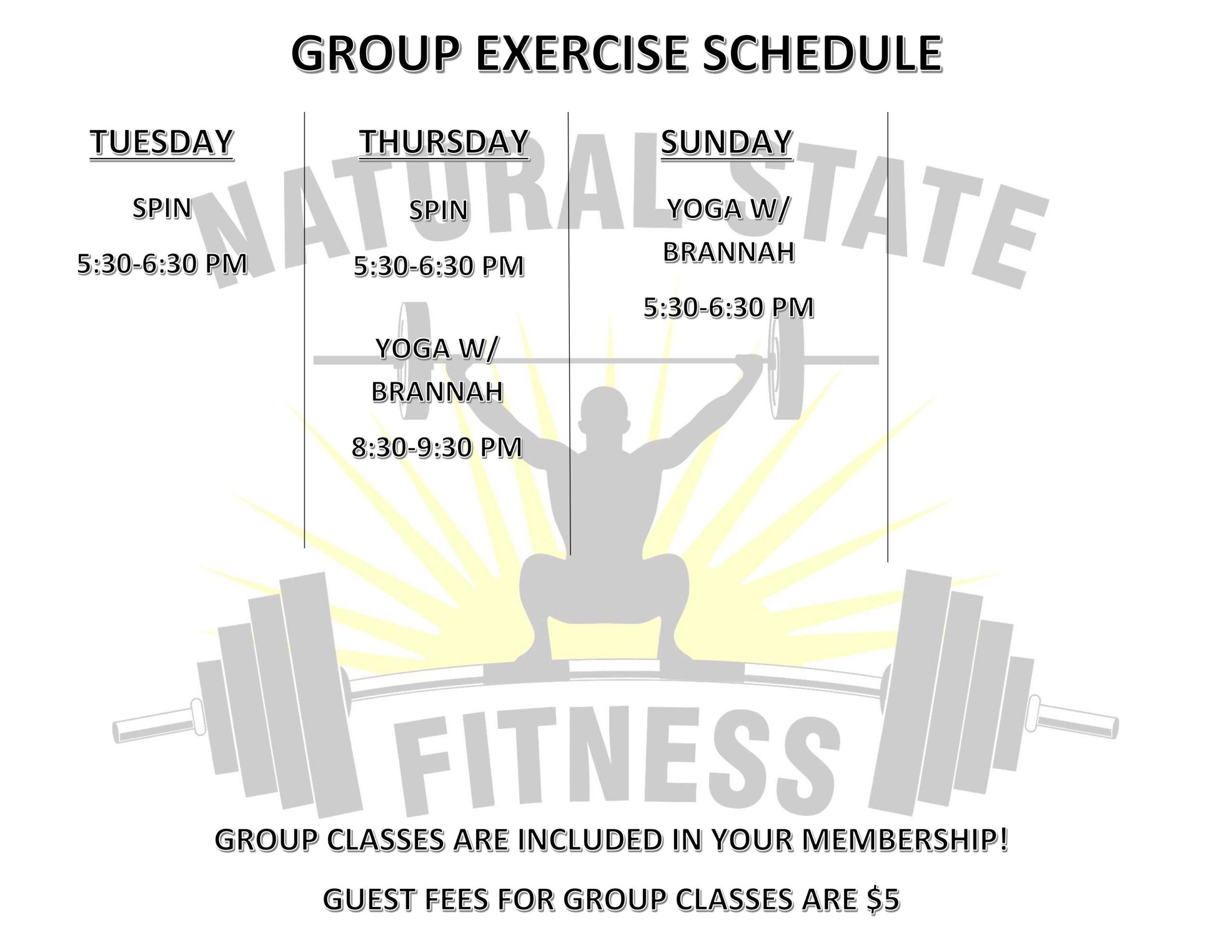 Group Exercise Schedule UPDATED