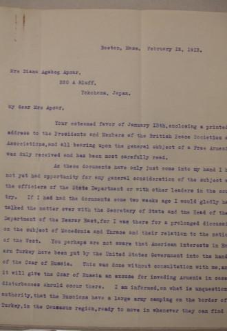 James L. Barton to Diana Apcar, February 12, 1913, page 1