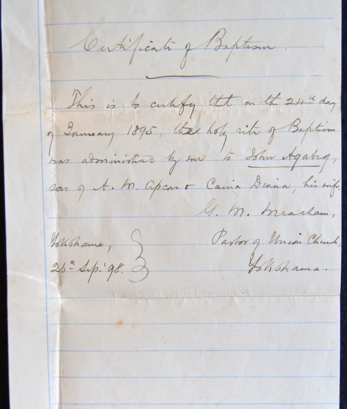 John Agabeg, Baptismal Certificate, ACF