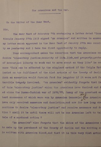 The Armenians and the War by Diana Apcar, page 1