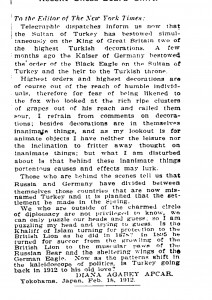 Turkey Kowtows To Britain, The New York Times, March 1912.