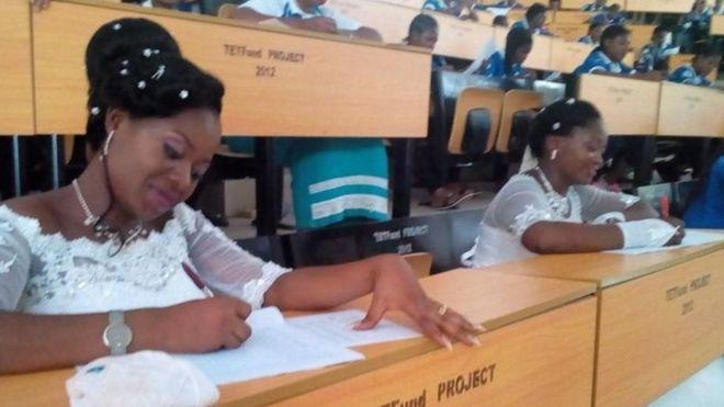 Nigerian brides sit exams in wedding gowns