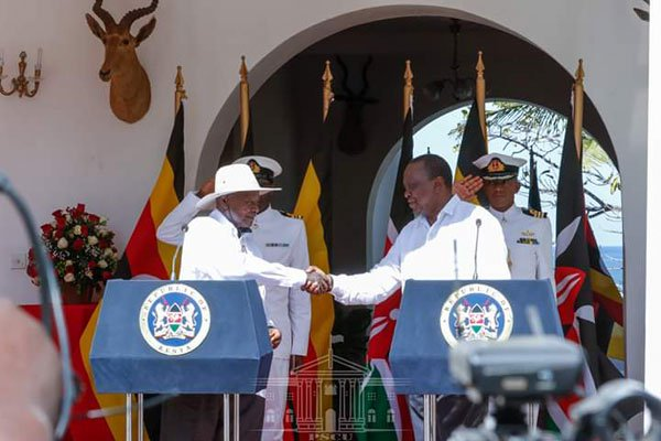 President Museveni, who arrived in Mombasa straight from Johannesburg in South Africa where he had been attending the Saharawi Solidarity Summit, is in Kenya on a three-day state visit on the invitation of President Kenyatta.