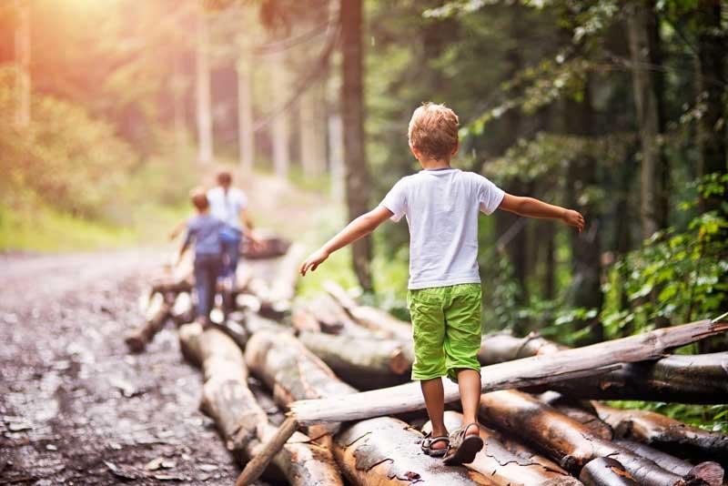 boy balancing on logs