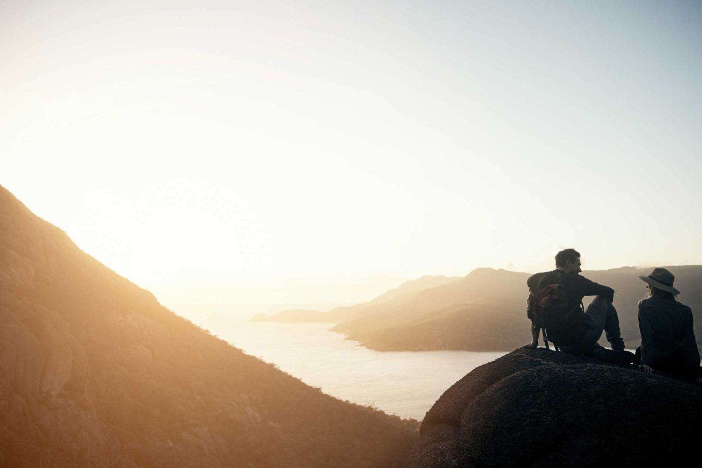 couple overlooking bay