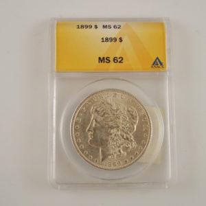 RARE 1899p Morgan Silver Dollar MS62 ANACS