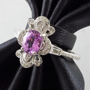 db6902221 Lot# 180: Platinum Ladies' Ring w/0.86ct Oval Mixed Cut Natural Pink  Sapphire & 0.21ctw Round Brilliant Cut & Tapered Baguette Cut Diamonds –  AIG Appr ...