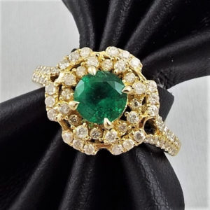 ef251f7da Lot# 40: 14K Y.G. Ring by Orianne w/0.76ct Round cut Natural Emerald &  0.51ctw Round Cut Diamonds – AIG Appr $4580.00