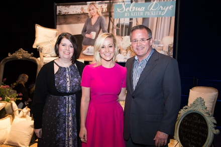 Celebrating the launch of Selma Drye by Kellie Pickler home goods collection backstage at the Grand Ole Opry (l to r: Kim O'Dell, Director of Retail, Opry; Kellie Pickler; Pete Fisher, Vice resident/General Manager, Opry)