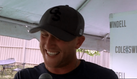 Cole Swindell laughing