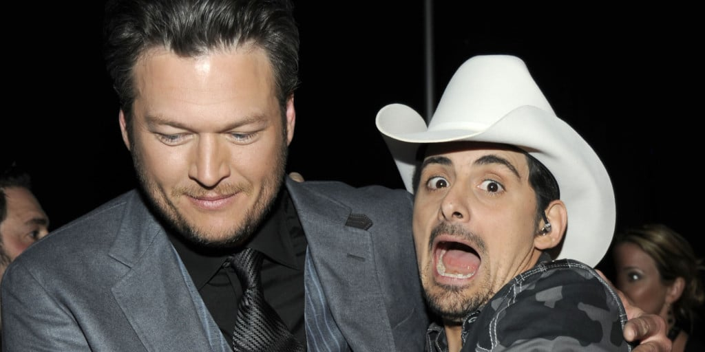 LAS VEGAS, NV - APRIL 01:  Host Blake Shelton and musician Brad Paisley backstage at the 47th Annual Academy Of Country Music Awards held at the MGM Grand Garden Arena on April 1, 2012 in Las Vegas, Nevada.  (Photo by Frazer Harrison/Getty Images for ACM)