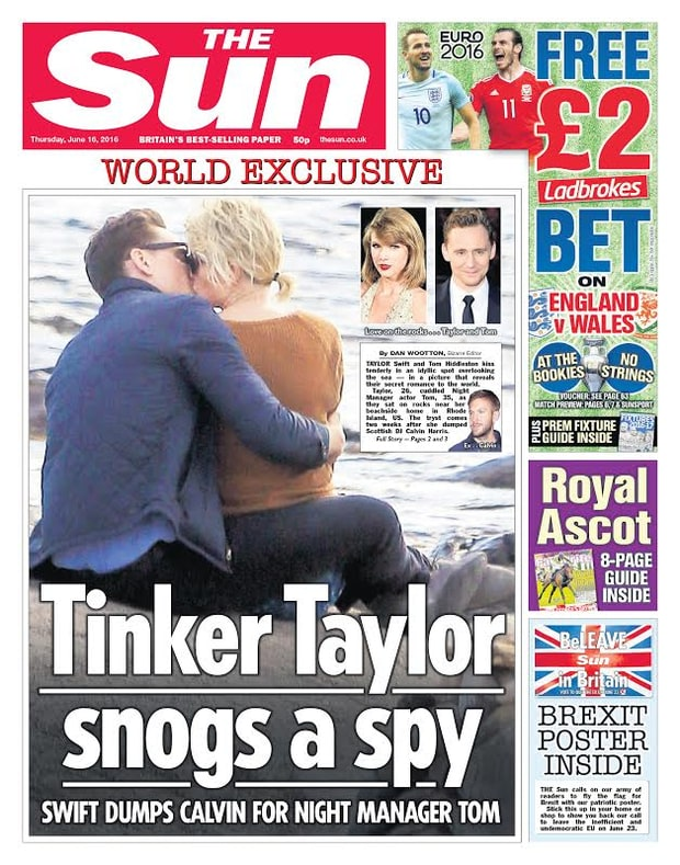 Taylor Swift Tom Hiddleston The Sun cover