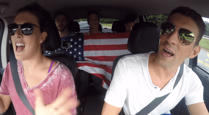 USA swim team do car karaoke before heading to Rio