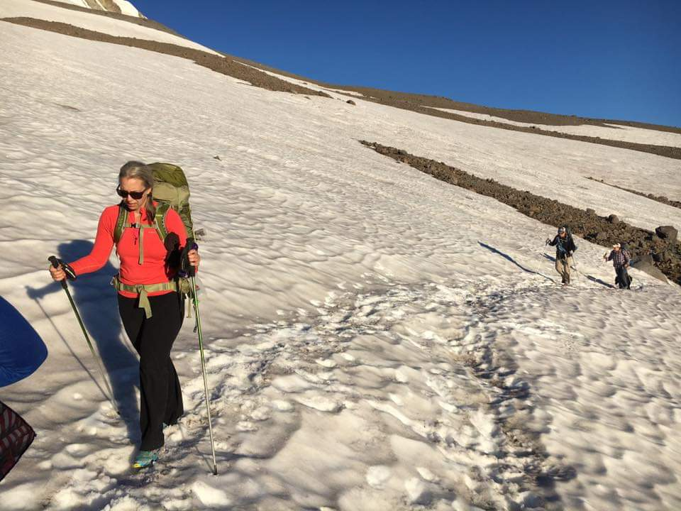 Backpacking over a glacier on Mt. Hood