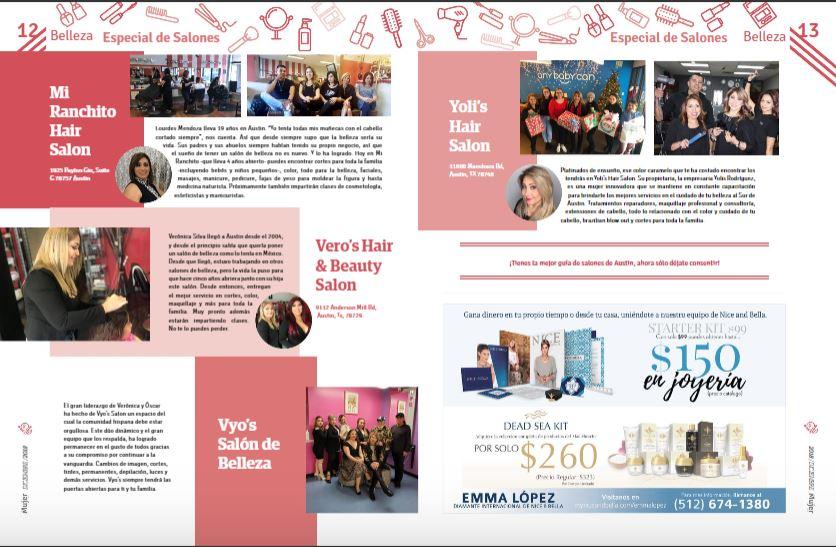 En Diciembre del 2018, Yolis Hair Salon es reconocido como uno de los mejores salones de Belleza por la revista Más Mujer Austin
