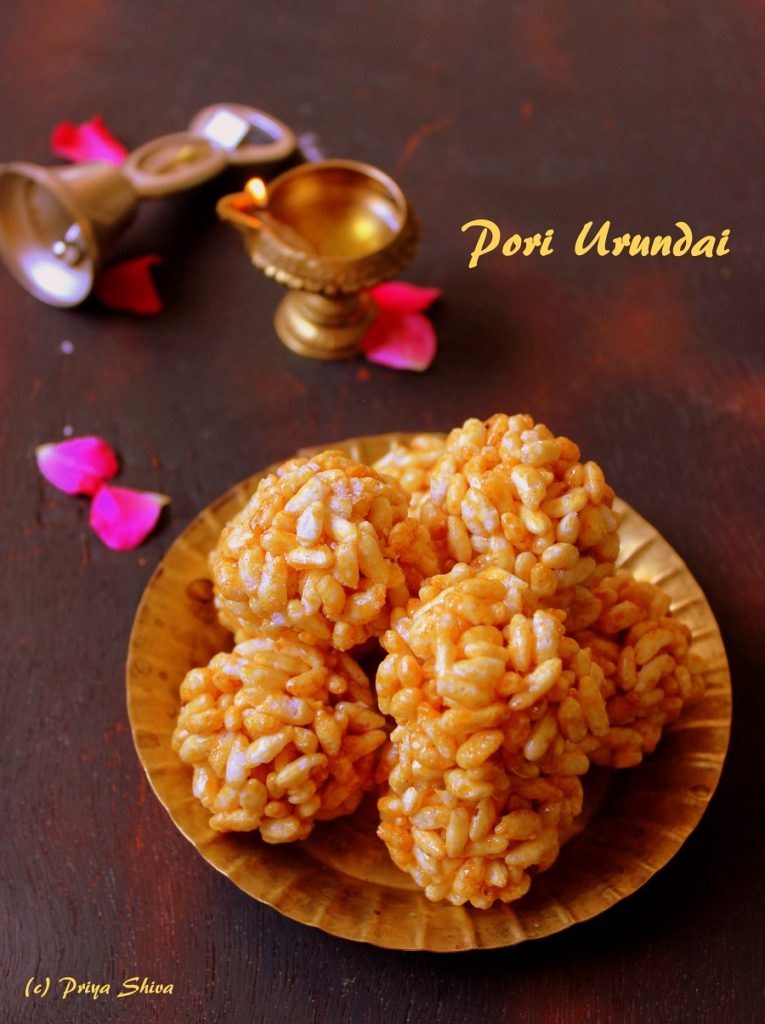 pori urundai, puffed rice, sweet rice ball