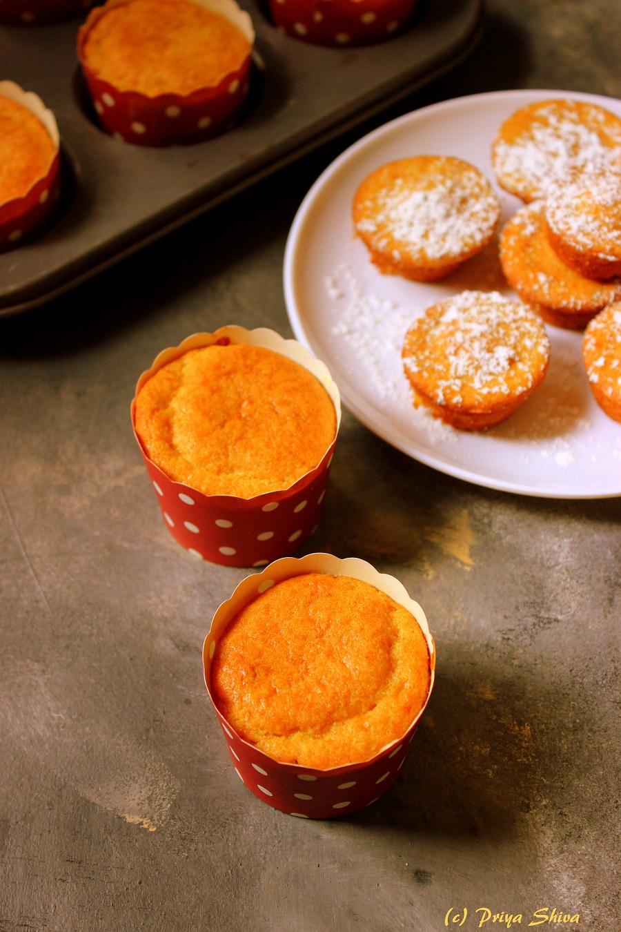 eggless whole wheat orange cupcake recipe