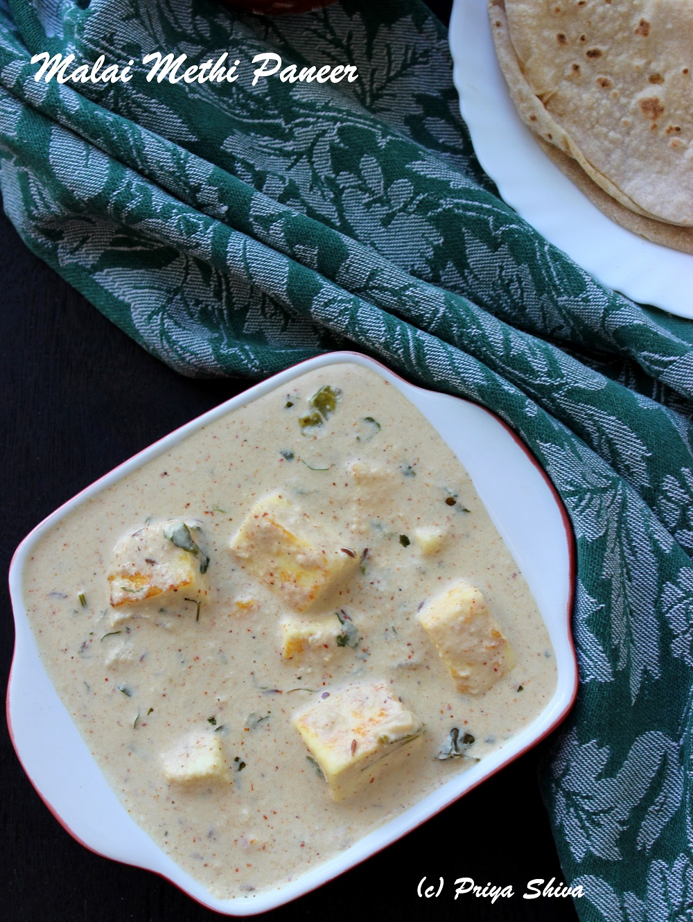 malai methi paneer recipe
