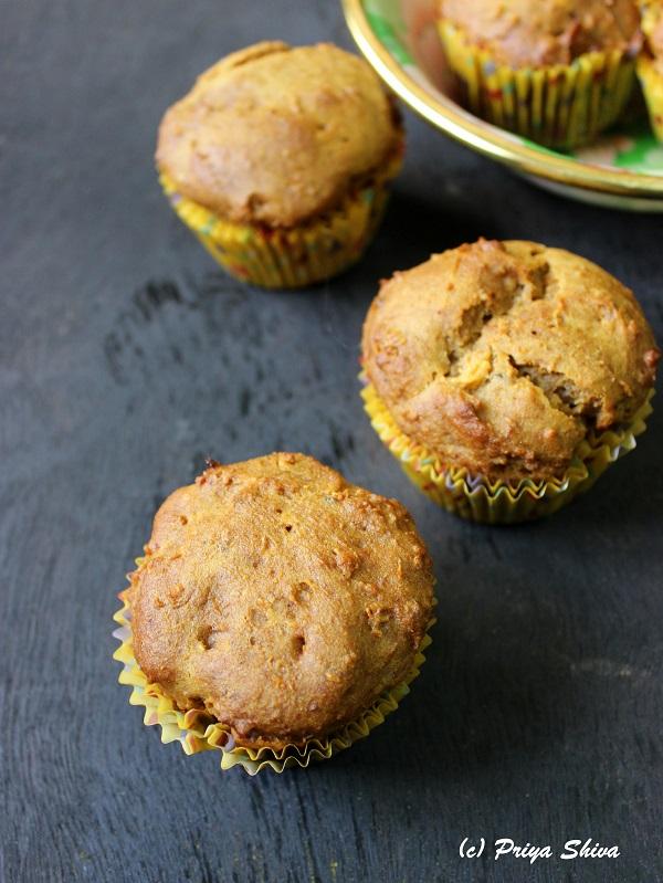 Eggless Papaya Banana Honey Muffins
