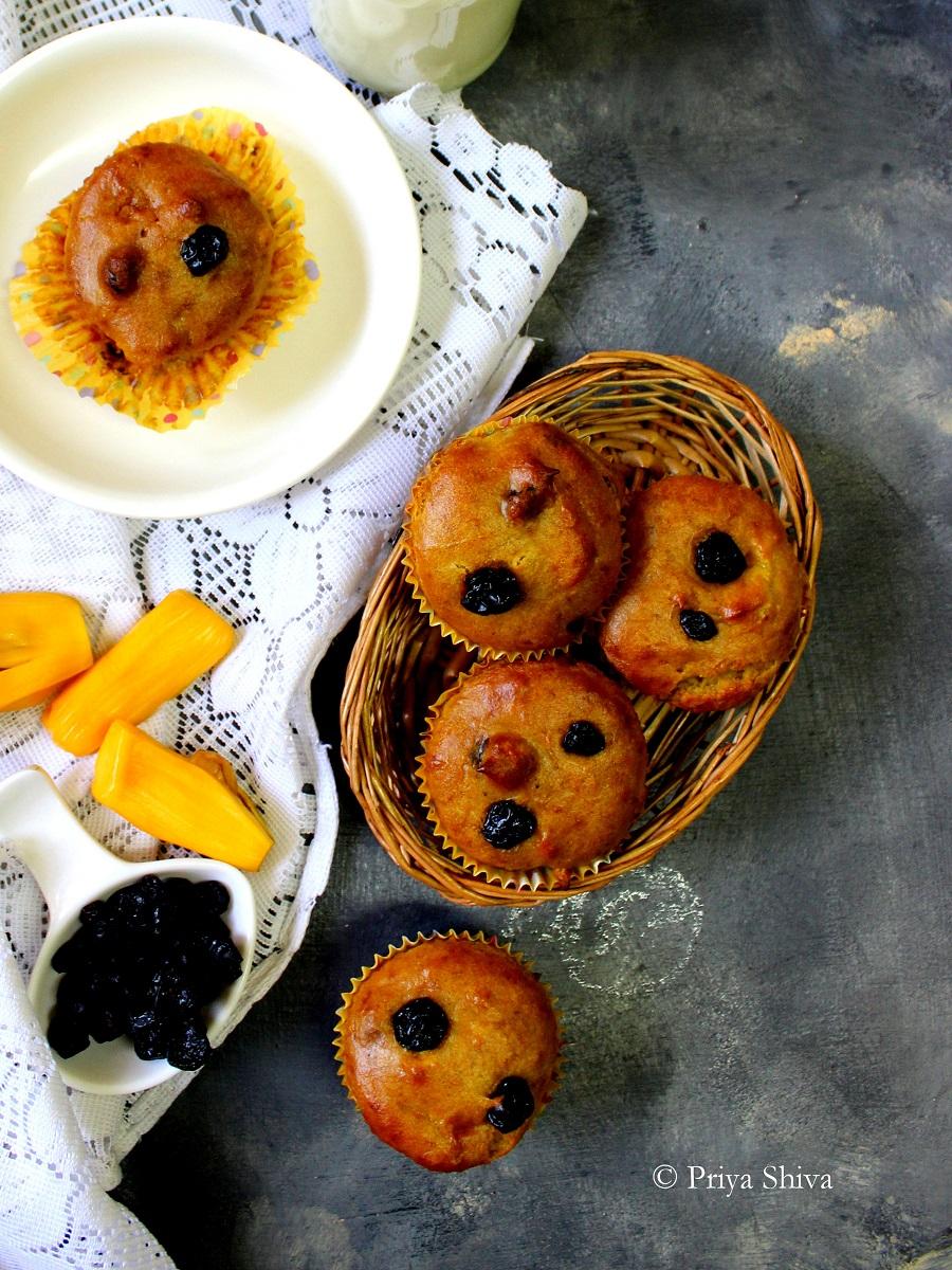 Eggless Whole wheat Jackfruit Blueberry Muffin recipe