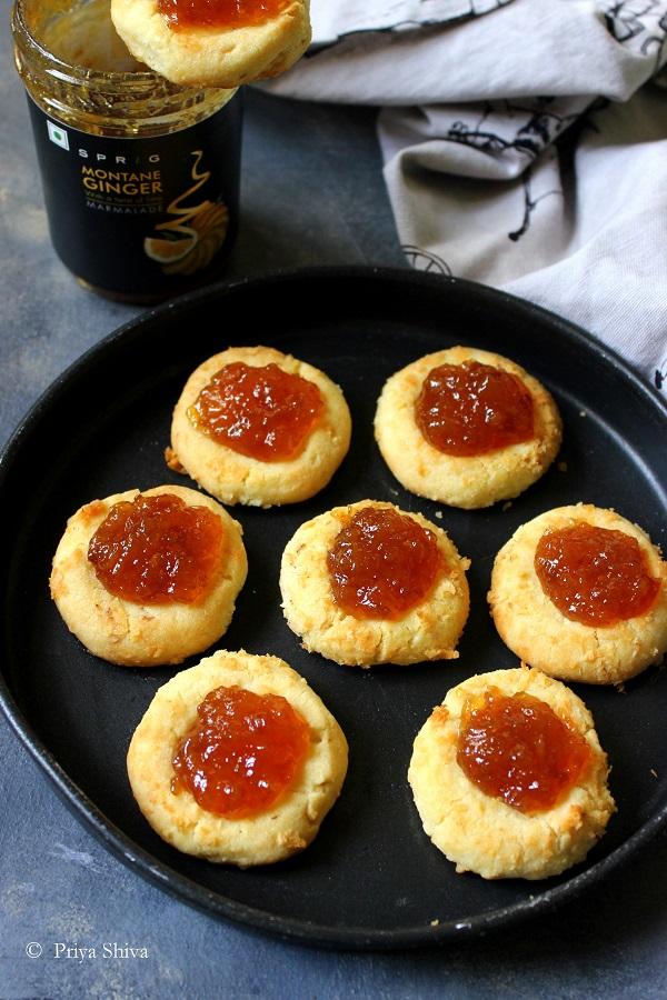 Ginger Marmalade Coconut Thumbprint Cookies recipe