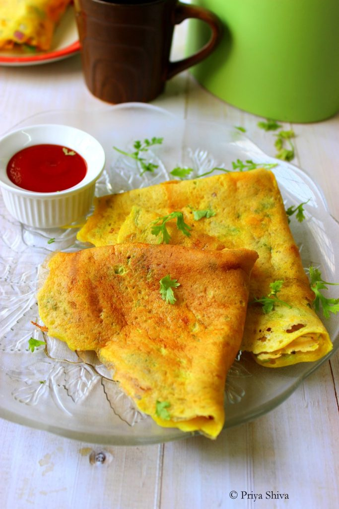 Moong dal Cheela, lentil crepes