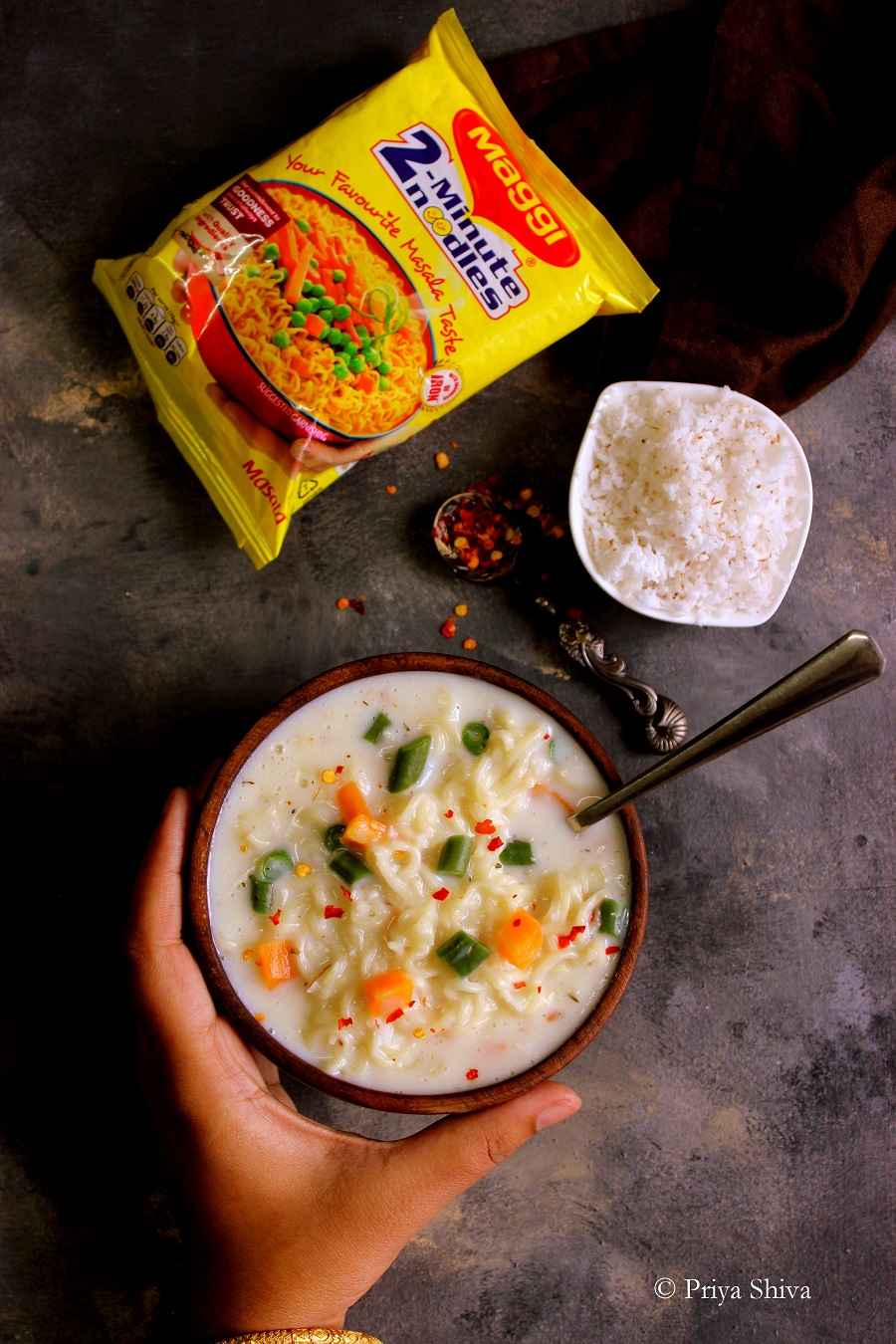 vegetable maggi Noodle in White Sauce