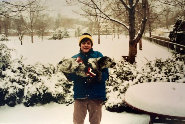 Douglas Brinkley Kid Young Dog Snow