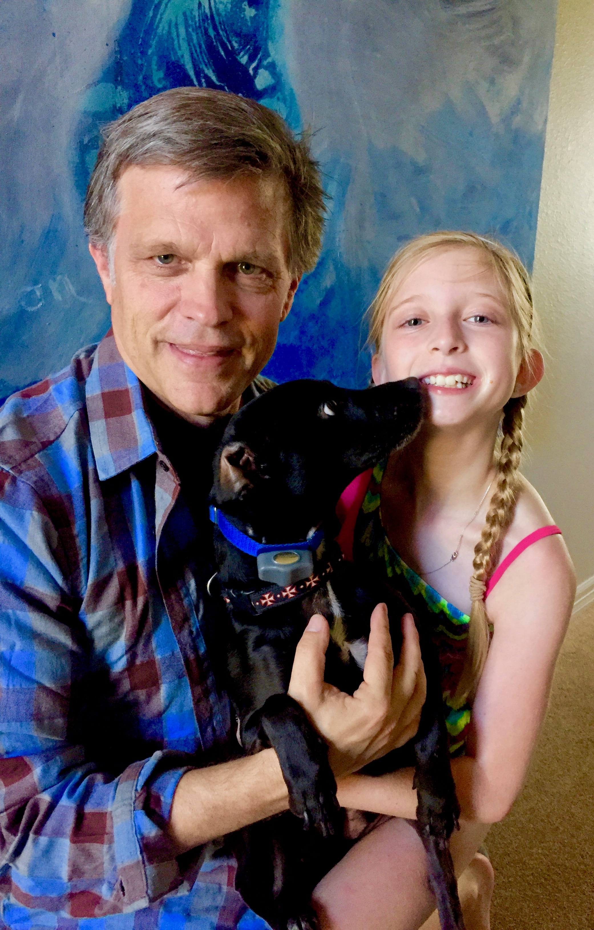 Douglas Brinkley and daughter Cassady with dog