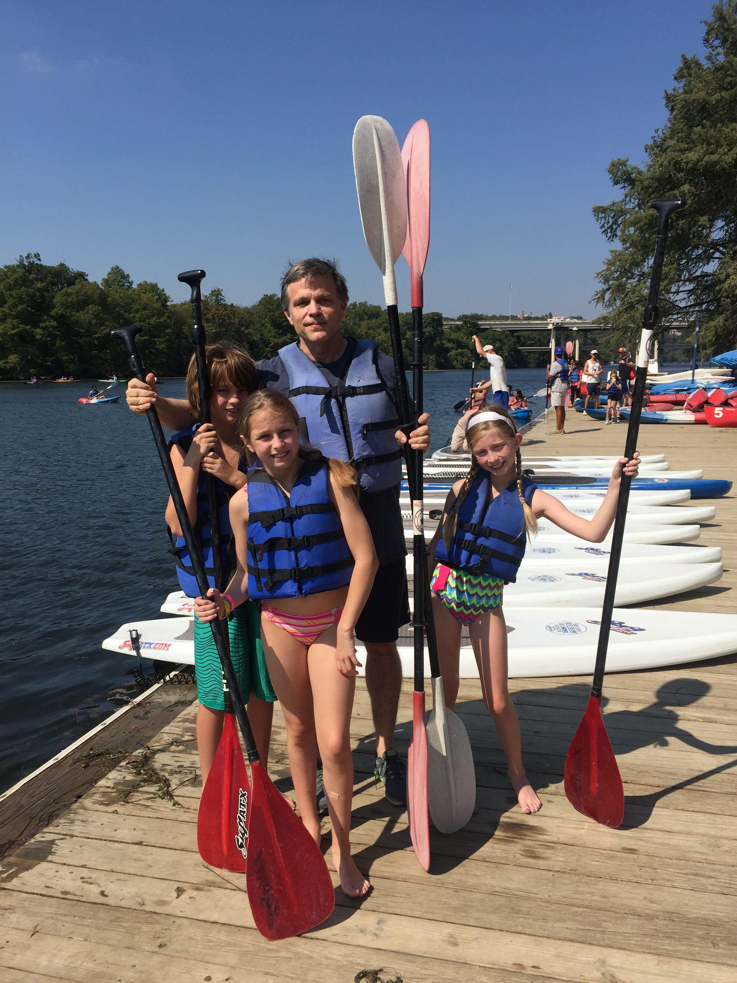 Douglas Brinkley and his kids kayaking