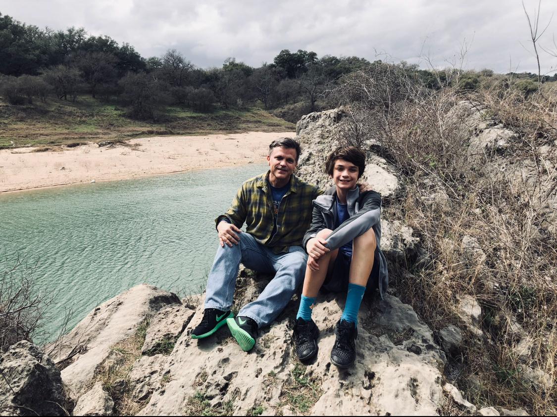 Douglas Brinkley and son Johnny at Pedernales Texas